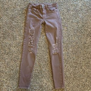 AEO Jeggings Mauve Distressed Skinny Jeans Sz 2